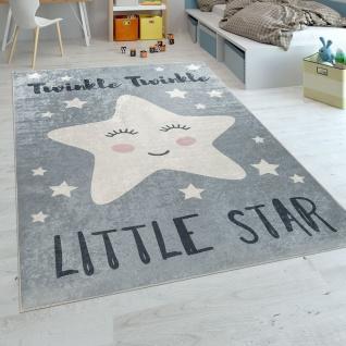 Kinderteppich Kinderzimmer Modern Waschbar Niedlicher Stern Spruch Grau Weiss