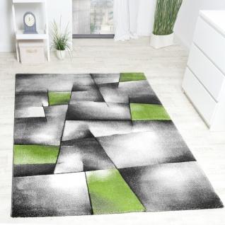 Designer Teppich Modern Kariert mit Handgearbeitetem Konturenschnitt Grau Grün