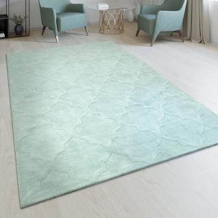 Handgefertigter Wohnzimmer Teppich Marokkanisches Design Orient Pastell Grün