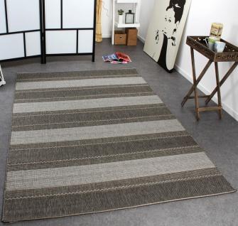 In- & Outdoor Teppich Modern Flachgewebe Gestreift Sisal Optik Grau Töne