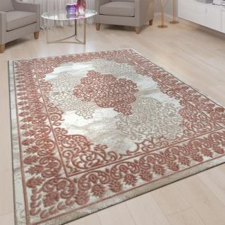 Wohnzimmer-Teppich, Kurzflor-Teppich Mit Orient-Muster, 3D-Look In Rosa