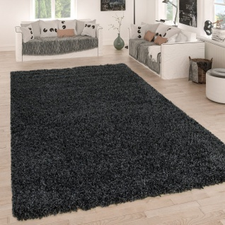 Hochflor Teppich Grau Anthrazit Wohnzimmer Shaggy Strapazierfähig Weich Robust