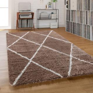 Teppich Wohnzimmer Shaggy Hochflor Einfarbig mit weißem Rauten Muster, Beige