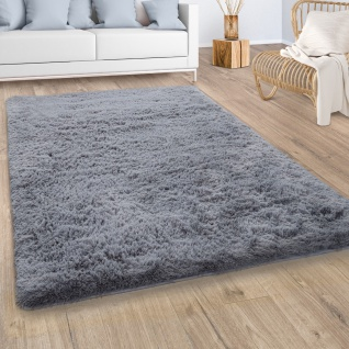 Hochflor Teppich Wohnzimmer Fellteppich Kunstfell Shaggy Flauschig Einfarbig Grau