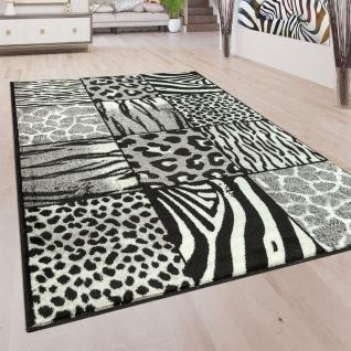 Designer Teppich Patchwork Design Tierfell Motive Modern Grau Anthrazit Weiß - Vorschau 1