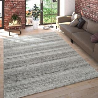 Wohnzimmer Teppich Kurzflor Meliert Mehrfarbiges Design Gestreift in Hellgrau