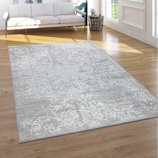 Teppich Wohnzimmer Kurzflor 3D Effekt Orientalisches Muster Ornamente Grau Creme