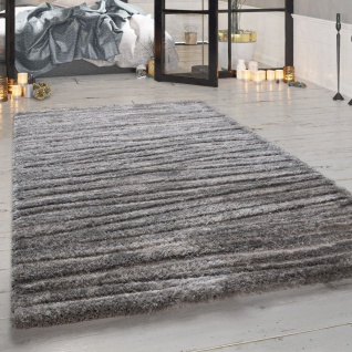 Hochflor-Teppich, Designer-Shaggy Für Wohnzimmer Mit Meliertem Design, In Grau