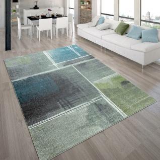 Wohnzimmer-Teppich, Kurzflor-Teppich Mit Viereck-Muster Farbverlauf, In Bunt