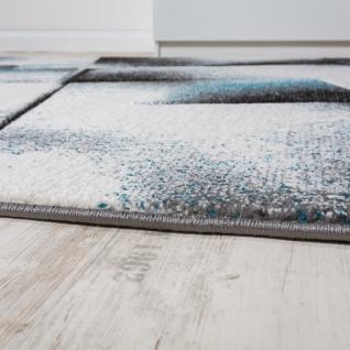 Designer Teppich Wohnzimmer Teppiche Kurzflor Meliert Türkis Grau Creme Schwarz - Vorschau 2