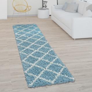 Teppich Wohnzimmer Hochflor Shaggy Skandi Design Mit Rauten Muster, Modern In Türkis - Vorschau 3