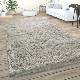 Hochflor Teppich Wohnzimmer Shaggy Pastell Einfarbig Weich Flauschig Grau