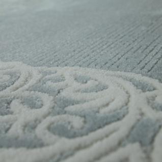 Vintage Polyacryl Teppich Florale Muster Hochwertig Modern Fransen Pastell Türkis - Vorschau 3