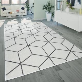 Wohnzimmer-Teppich, Kurzflor Im Skandi-Stil Mit Rauten-Muster, In Weiß