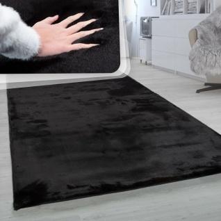Hochflor-Teppich, Shaggy-Teppich Für Wohnzimmer, Weich Einfarbig, in Schwarz