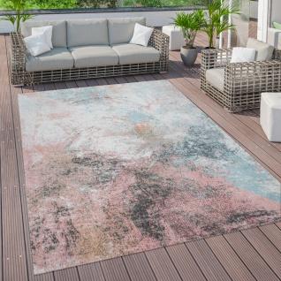 Outdoor Teppich Terrasse Vintage Küchenteppich Muster Abstrakt Pastell Rosa Blau