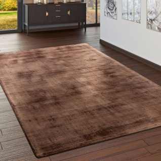 Teppich Handgefertigt Hochwertig 100 % Viskose Vintage Optisch Meliert In Braun