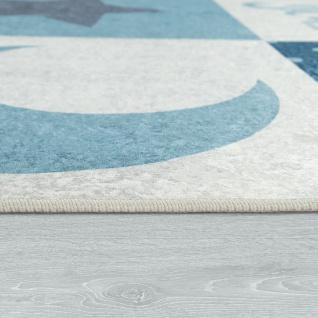 Kinderteppich Kinderzimmer Jungen Waschbar Herzen Sterne Mond Spruch Blau Grau - Vorschau 2