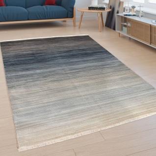 Teppich, Moderner Kurzflor-Teppich Für Wohnzimmer, Mit Farbverlauf, In Blau