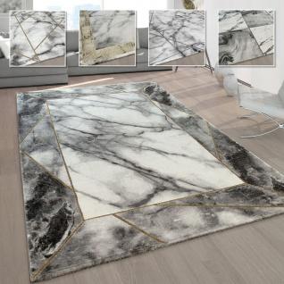 Wohnzimmer-Teppiche Grau Gold Weich Marmor Optik Kurzflor mit vers. Designs