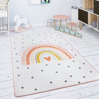 Kinderteppich Teppich Kinderzimmer Spielmatte Regenbogen Herz Creme Rosa