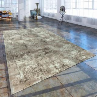 Kurzflor Wohnzimmer Teppich Used Look Abstrakt Gemälde Optik Creme Beige