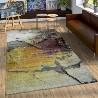 Designer Teppich Bunte Abstrakte Muster Hoch Tief Optik Gelb Blau Weiß Meliert