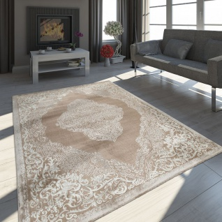Orient Teppich Modern 3D Effekt Meliert Schimmernd Ornamente In Beige Creme