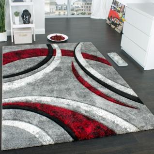 Designer Teppich mit Konturenschnitt Muster Gestreift Grau Schwarz Rot Meliert