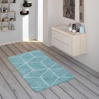 Badematte, Kurzflor-Teppich Für Badezimmer Mit Rauten-Muster In Türkis Weiß