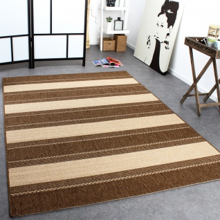 In- & Outdoor Teppich Modern Flachgewebe Streifen Sisal Optik Beige Creme