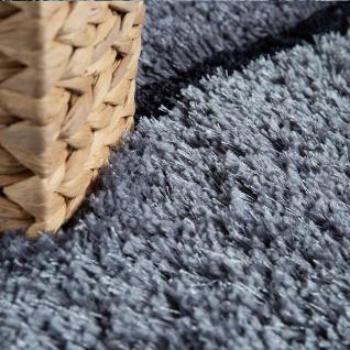 Hochflor Wohnzimmer Teppich Shaggy Konturenschnitt Stein Design In Anthrazit - Vorschau 3
