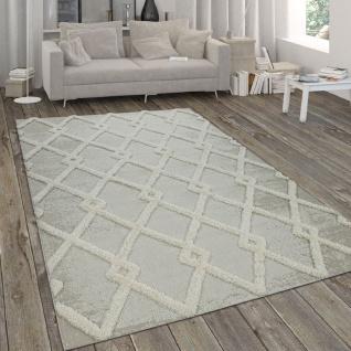 In- & Outdoor-Teppich, Mit Hochflor-Absetzung Und Rauten-Muster, In Beige
