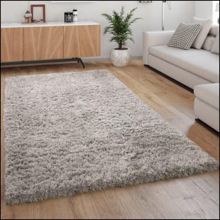 Hochflor Teppich Kuschelig Modern Shaggy Flokati Stil Gemütlich Uni Grau