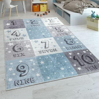 Kinderteppich, Spielteppich Für Kinderzimmer, Zahlen-Design Karo-Muster, In Blau