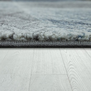 Wohnzimmer Teppich Indigo Blau Grau Trend Vintage Design Mit Karo Muster - Vorschau 2
