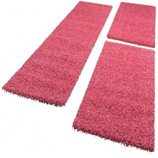 Bettumrandung Läufer Shaggy Hochflor Langflor Teppich in Pink Läuferset 3Tlg.