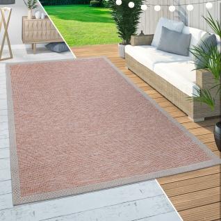 In-& Outdoor Teppich Balkon Terrasse Küchenteppich Bordüren Design Orange