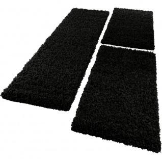Bettumrandung Läufer Shaggy Hochflor Langflor Teppich in Schwarz Läuferset 3 Tlg