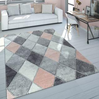 Teppich Wohnzimmer Kurzflor Modernes Skandinavisches Design Rauten Rosa Grau