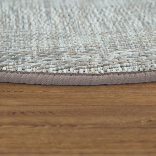 Runder In- & Outdoor-Teppich, Flachgewebe Mit Sisal-Look Skandi-Design, In Grau - Vorschau 2