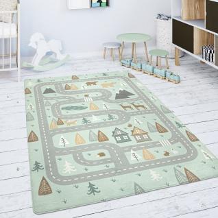 Kinderteppich Teppich Kinderzimmer Spielmatte Straße Bär Elch Bäume Grün Grau