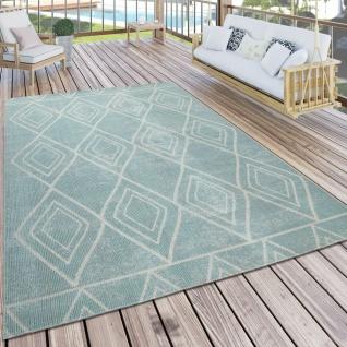 Teppich Blau Balkon Terrasse Outdoor Skandi Design Rauten Vintage Muster Weich
