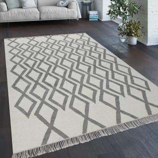 Teppich Wohnzimmer Boho Stil Fransen Handgewebt Woll-Baumwoll Gemisch Grau Creme