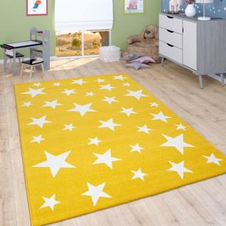 Kinder-Teppich Mit Stern-Muster, Kurzflor-Teppich Für Kinderzimmer, In Gelb