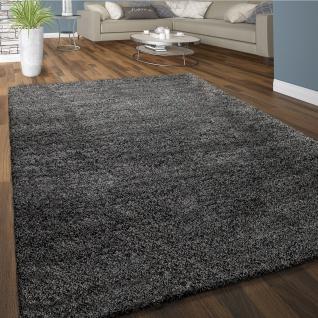 Hochflor Teppich Wohnzimmer Shaggy Langflor Weich Einfarbiges Muster Dunkel-Grau