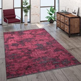 Teppich Wohnzimmer Kurzflor Modern Vintage Abstraktes Muster Glanz Optik Rot