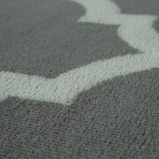 Designer Teppich Marokkanisches Muster Kurzflorteppich Modern Trend Grau Weiß - Vorschau 3