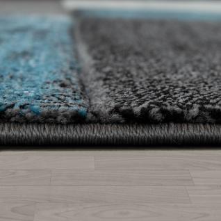 Designer Teppich Modern Konturenschnitt Geometrisches Muster Grau Türkis - Vorschau 2