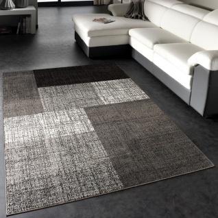 Designer Teppich Modern Kariert Kurzflor Design Meliert In Grau Creme Braun